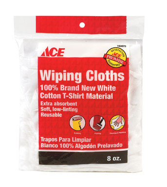 WIPING CLOTHS WHT 8OZ