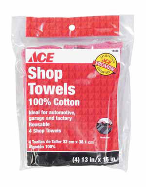SHOP TOWELS RED ACE PK/4