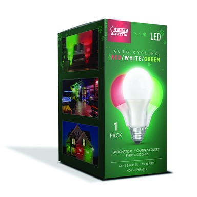 LED A19 GRN/RED/WHT 2W