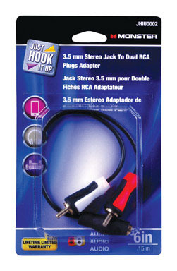 """ADAPTR 3.5MM TO 2-RCA 6"""""""