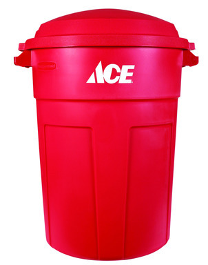 TRASH CAN 32GAL RED ACE