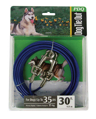CABLE DOG TIE OUT 30'MED
