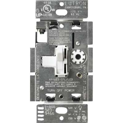 LUTRON TOGGLE DIMMER SP/3W WHITE