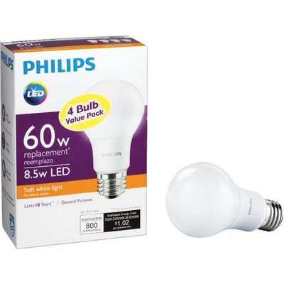 BULB SOFT WHITE 60W EQLED 4PK PR