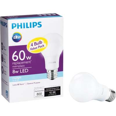 BULB 60W A19  DAYLIGHT LED 4PK