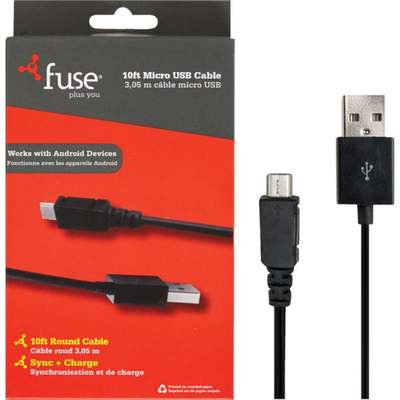 10' MICRO USB CABLE BLACK