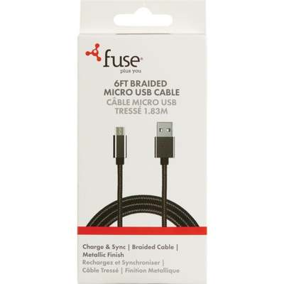NYLON 6' MICRO USB CABLE BLACK