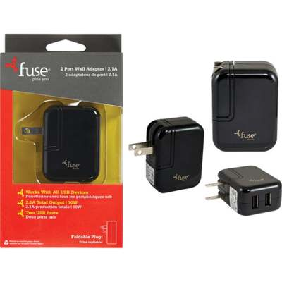 FUSE 2 PORT WALL USB CHARGER BLK