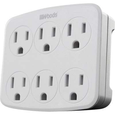 TAP WALL 6 OUTLET GROUNDED WHT
