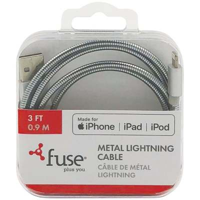 3' SILVER METAL LIGHTNING CABLE