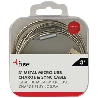 3' SILVER METAL MICRO USB CABLE
