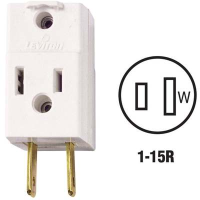 ADAPTER 3-OUTLET CUBE TAP 15A WH