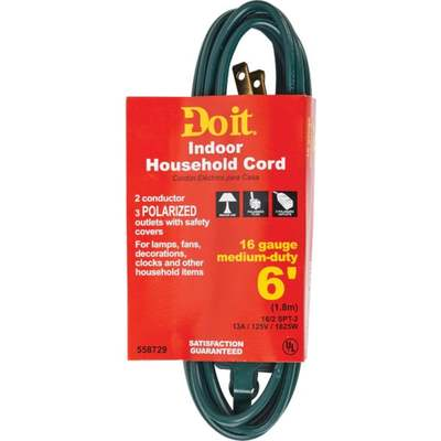 """CORD EXT 6""""16-2 GREEN CUBE TAP"""