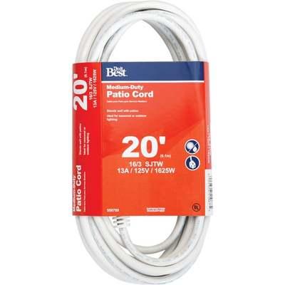 CORD EXT 20' 16-3 WHITE