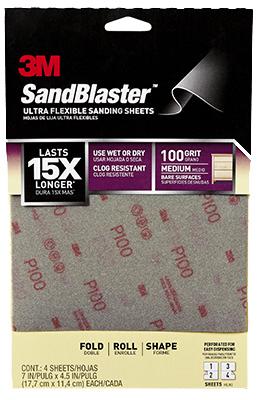 3M FLEXIBLE 4PK 100G Sandpaper