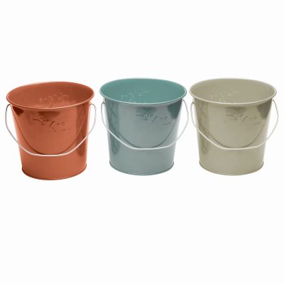 TIKI 1417040 Candle, Blue/Coral/Ivory, Citronella, 35 hr Burn Time Bucket