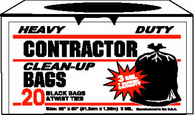 20ct 42gal Black Contractor Bag