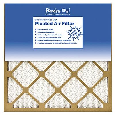 Flanders 81555.011625 Pleated Air Filter, 25 in L, 16 in W, 6 MERV