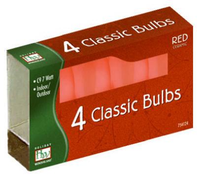 HW 4PK C9 RED Cera Bulb