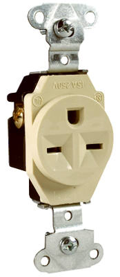 15A Ivory Grounded Recetacle