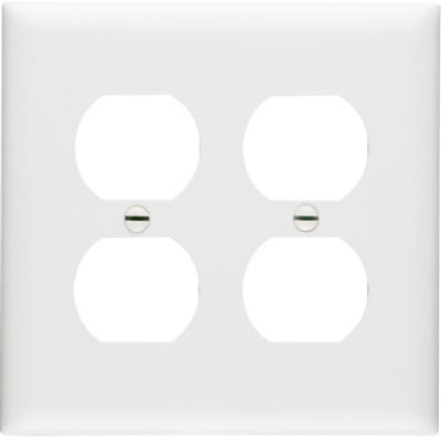 White 2 Gang 2 Duplex Wallplate