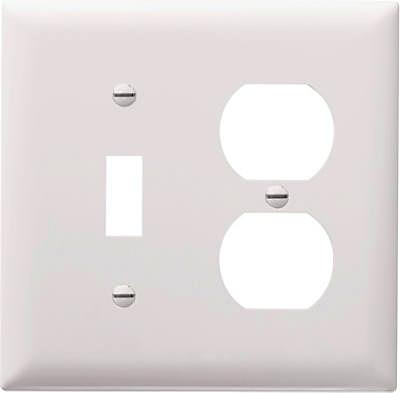 White 2 Gang Toggle Duplex Plate