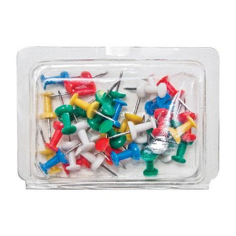"""Plastic Assrt Push Pin 3/8"""" 40 Pack"""