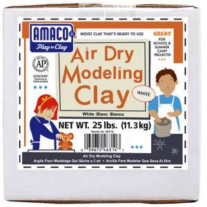 Amaco Air Dry Modeling Clay 25 Lbs. Pack - White