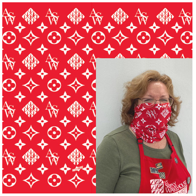 Gaiter Bandana ASW Style White on Red