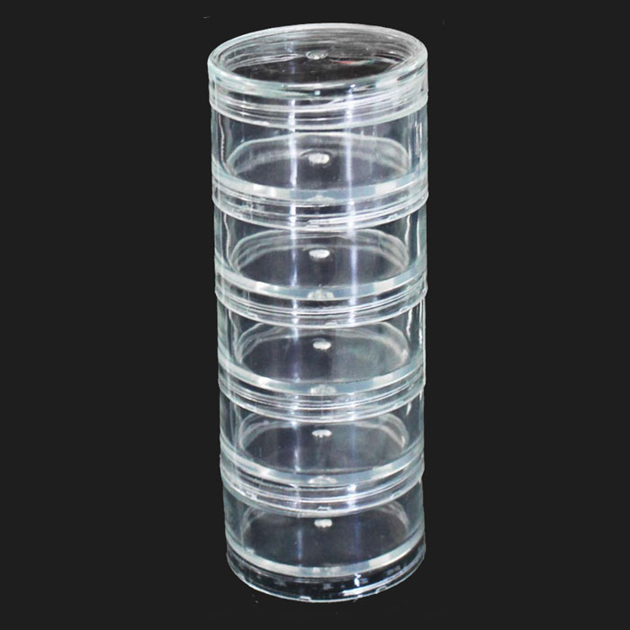 """Stackable Plastic Containers 2"""" 5pc Set"""