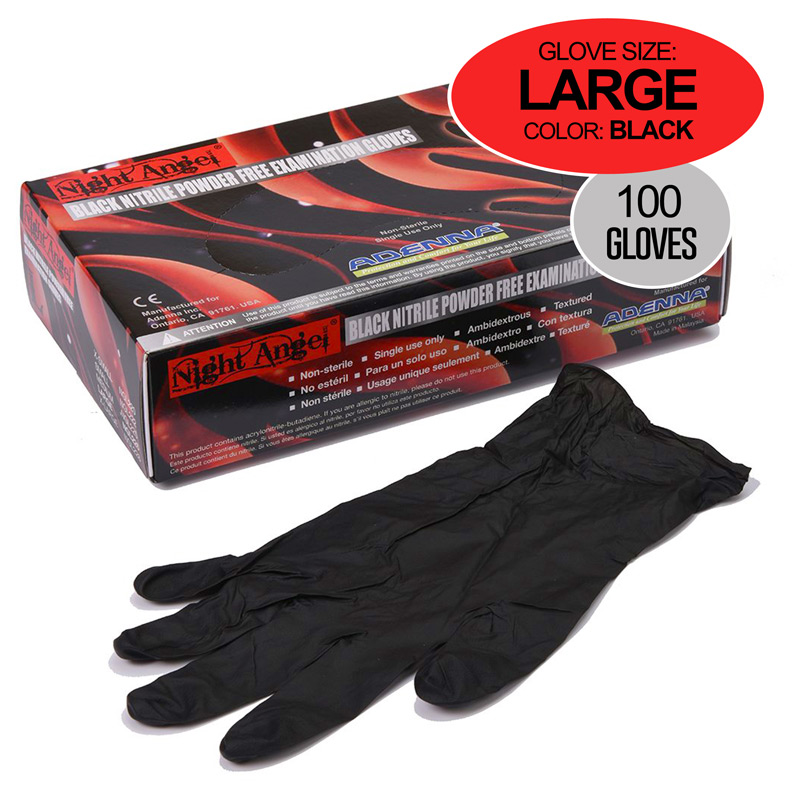 Black Nitrile Gloves 100pk Large Size