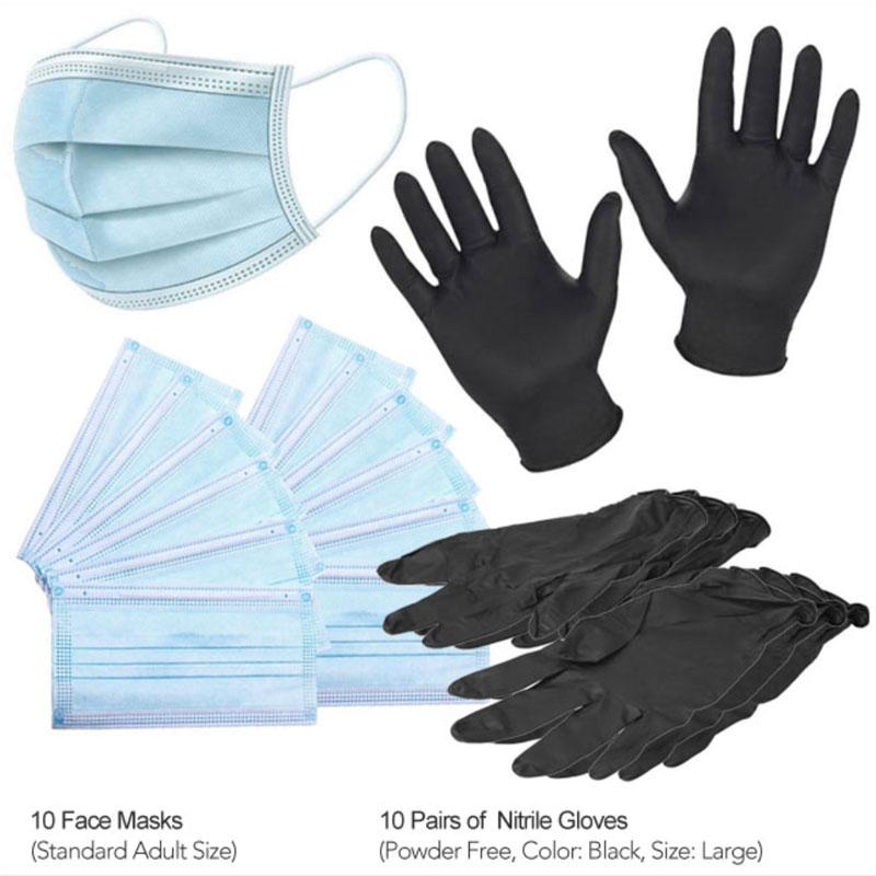 PPE Masks & Gloves 10 Pack Large