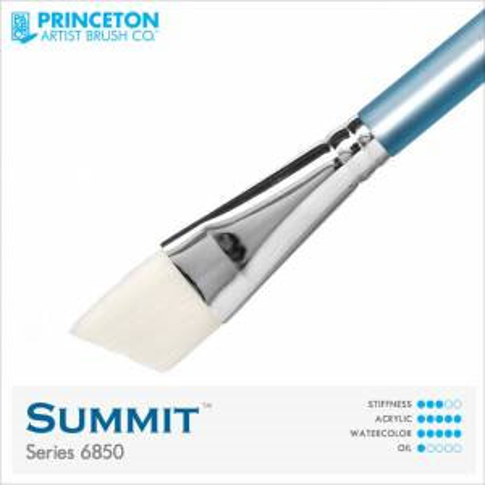 "Princeton Summit Series 6850 Synthetic Watercolor Brush - Angle Wash 3/4"""
