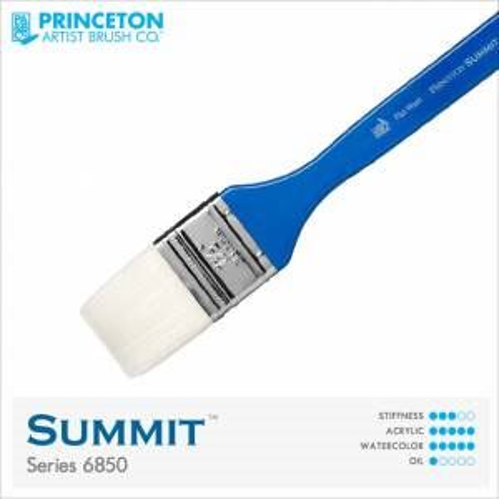 "Princeton Summit Series 6850 Synthetic Watercolor Brush - Flat Wash 1.5"""