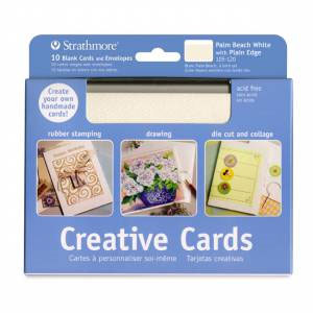 Blank Creative Cards 10pk, 12.7 x 17.4cm - Palm Beach White w/ Plain Edge