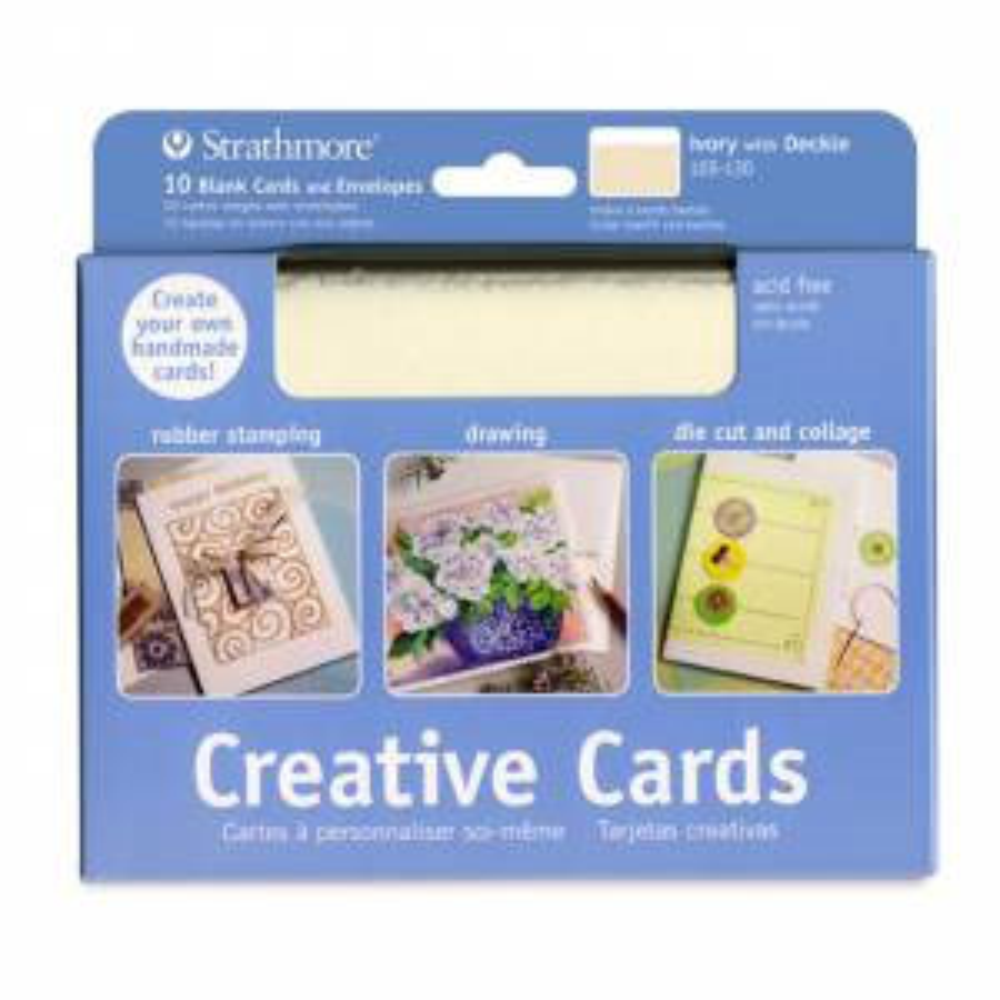 Blank Creative Cards 10pk, 12.7 x 17.4cm - Ivory with Deckle