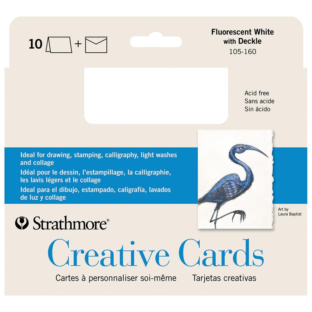 Blank Creative Cards 10pk, 12.7 x 17.4cm - Fluorescent White w/ Deckle