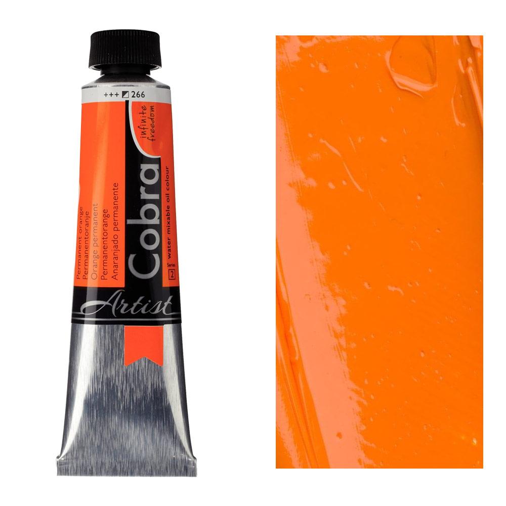 Cobra Water Mixable Oil Color 40ml Permanent Orange