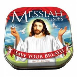 """Jesus """"Save Your Breath"""" Messiah Mints with Reusable Tin"""