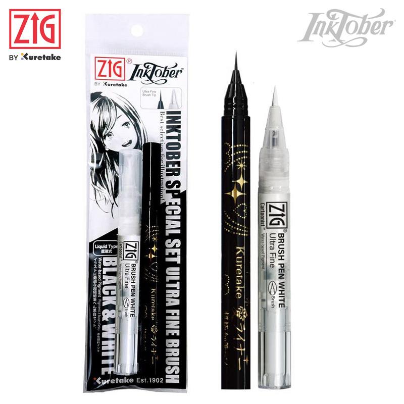 Zig Inktober Ultra Fine Black & White Brush Pen Set