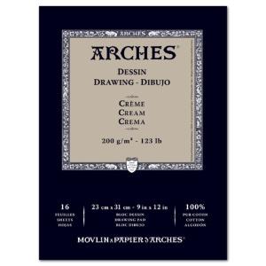 Arches Drawing 9x12 16sh Cream