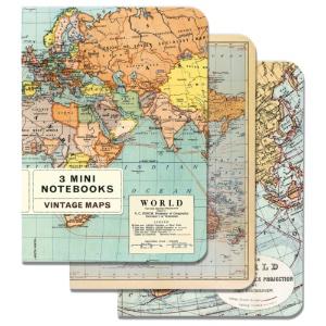 MINI NOTEBOOKS 3pk VINTAGE MAPS