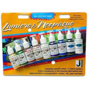 Jacquard Lumiere & Neopaque Paint Exciter Pack Set of 9 Bottles 1/2 oz.