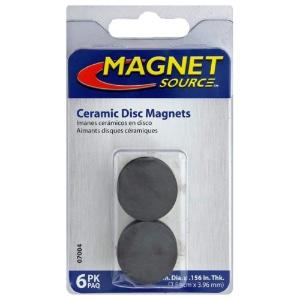 "Ceramic Ferrite Disc Magnets 1"" 6-Pack"