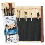 Raphael Travel Brush Set with Bamboo Roll-Up Case
