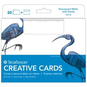 Blank Creative Cards 20pk, 12.7 x 17.4cm - Fluorescent White w/ Deckle