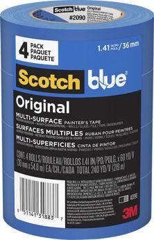 """3M 1.5"""" BLUE TAPE MULTI 2090 4PK"""