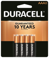 Duracell MN2400B8Z Alkaline Battery, AAA, Manganese Dioxide, 1.5 V