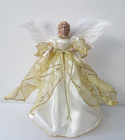 Santas Forest Plush Christmas Angel, 12 In H, White/Gold