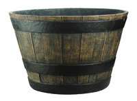 Landscapers Select Handcrafted Pottery Planter, Whiskey Barrel Pattern, 20